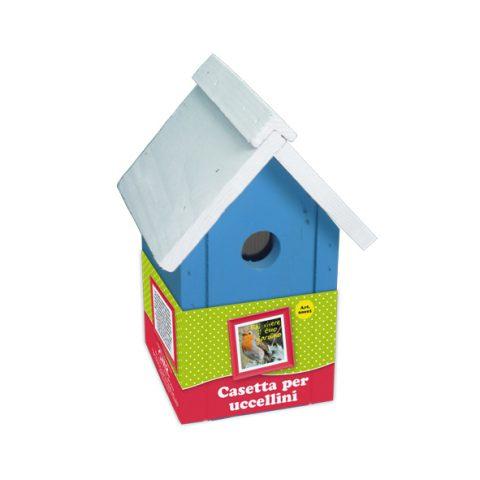 casetta per uccelli azzurra-bianca